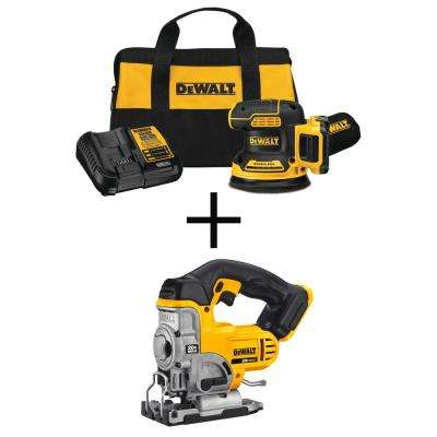 5 in. 20-Volt Max Lithium-Ion Cordless Brushless Random Orbit Sander Kit, 2Ah Battery, Charger w/ Bonus Cordless Jig Saw