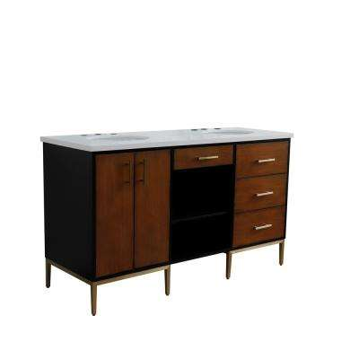 61 in. W x 22 in. D Double Bath Vanity in Walnut and Black with Quartz Vanity Top in White with White Oval Basins