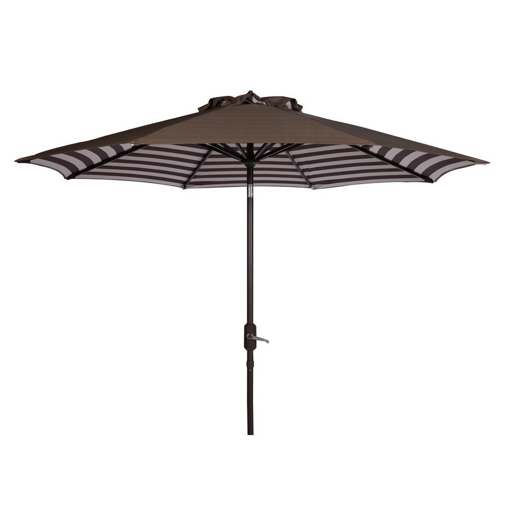 Athens 9 ft. Aluminum Market Auto Tilt Patio Umbrella in Brown/White