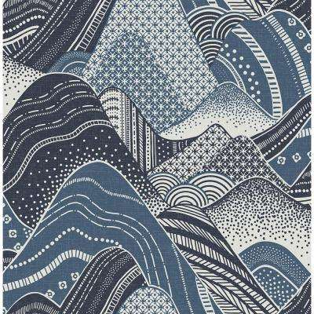 8 in. x 10 in. Meru Navy Mountain Wallpaper Sample