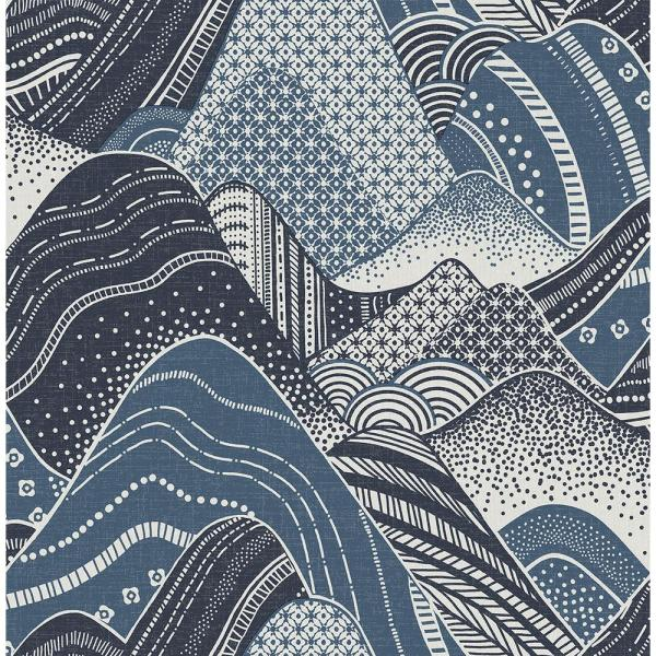 Meru Navy Mountain Paper Strippable Roll (Covers 56.4 sq. ft.)