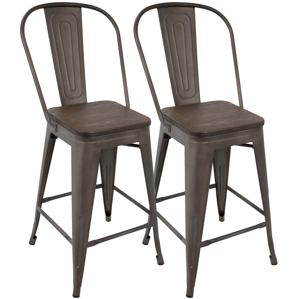 Antique And Espresso High Back Counter Stool Set Of 2