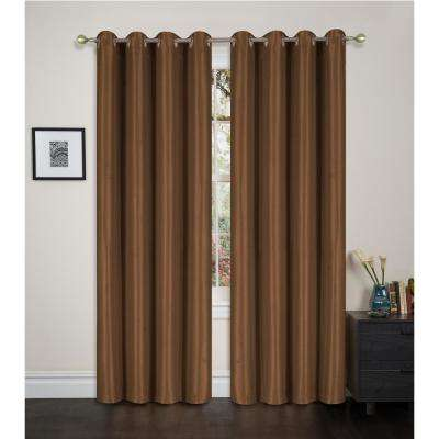 Blackout Maddie 84 in. L Blackout Grommet Top Curtain in Chocolate