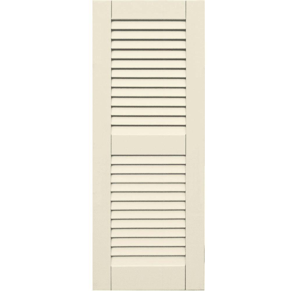Winworks Wood Composite 15 in. x 39 in. Louvered Shutters Pair #651 Primed/Paintable