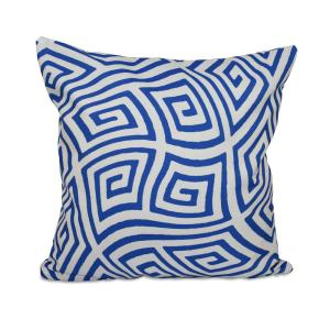 16 inch x 16 inch Geometric Maze Decorative Pillow in Dazzling Blue by