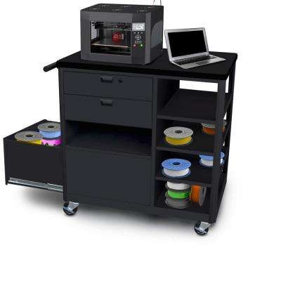 36 in. 3D-Printer Cart Workbench 2 Front Drawers in Black