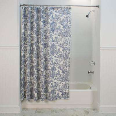 Victoria Park Toile 72 in. L Blue Shower Curtain