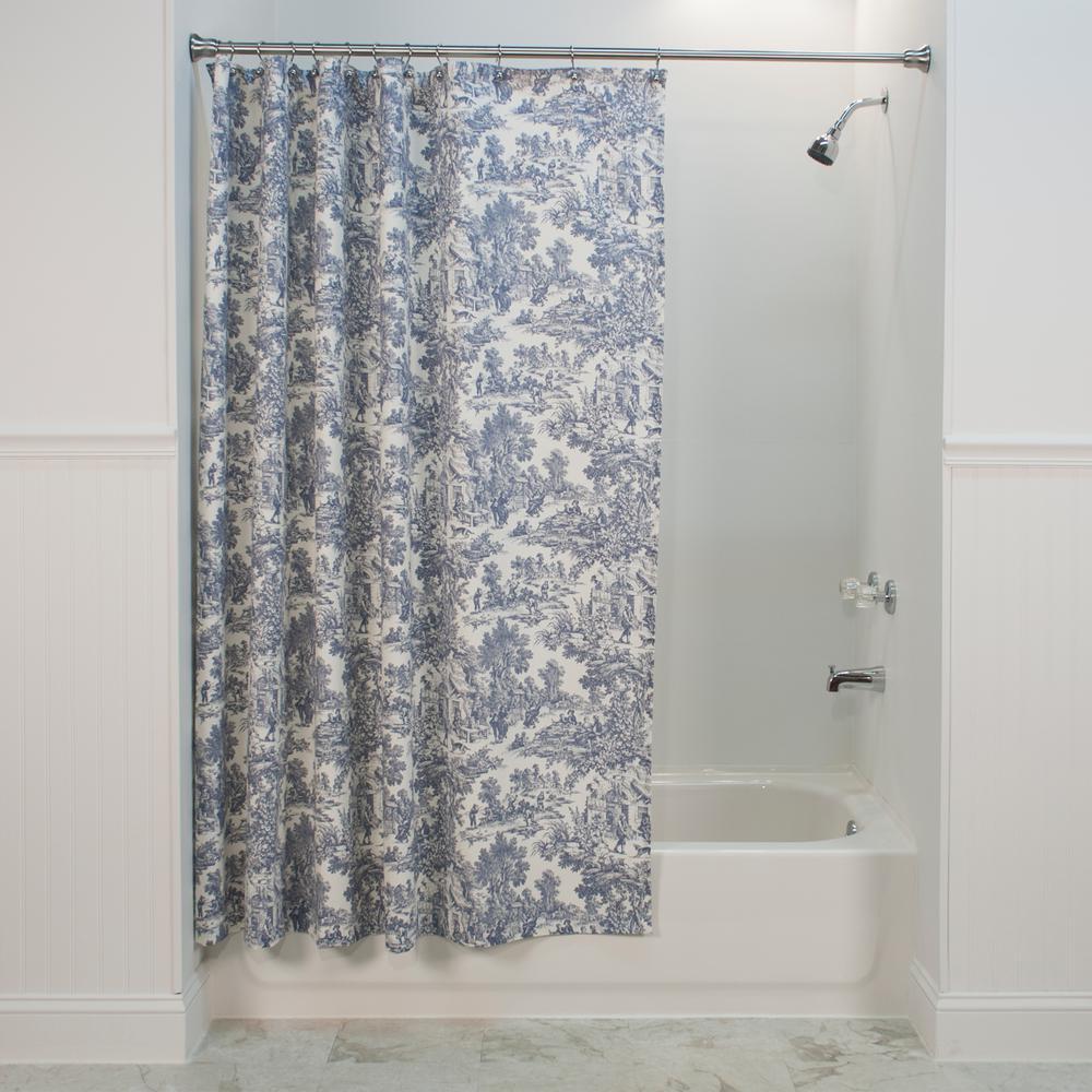 Victoria Park Toile 72 in. L Blue Shower Curtain