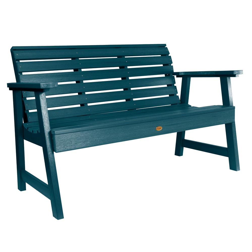 Highwood Weatherly 60 in. 2-Person Nantucket Blue Recycled Plastic Outdoor Garden Bench