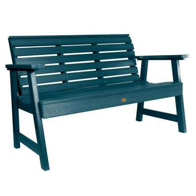 Weatherly 60 in. 2-Person Nantucket Blue Recycled Plastic Outdoor Garden Bench