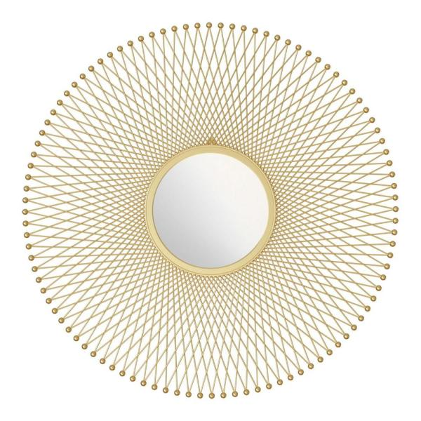 Julia 35 in. x 35 in. Classic Round Framed Gold Vanity Mirror