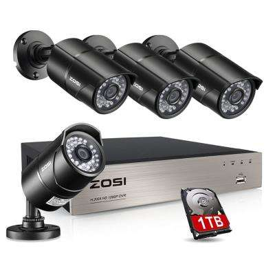8-Channel 1080p 1TB Hard Drive DVR Security Camera System with 4 Wired Bullet Cameras