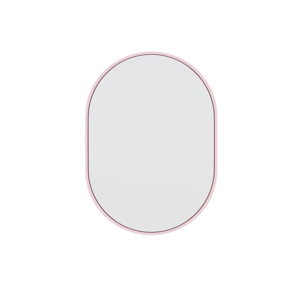 20 in. W x 28 in. H Framed Oval Bathroom Vanity Mirror in Pink