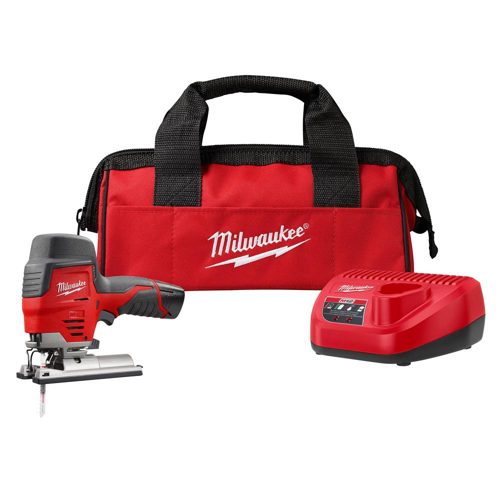 Milwaukee M12 12-Volt Lithium-Ion Cordless Jig Saw Kit with One 1.5 Ah Battery, Charger, Tool Bag