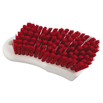6 in. Red Polypropylene Bristle Scrub Brush with White Handle