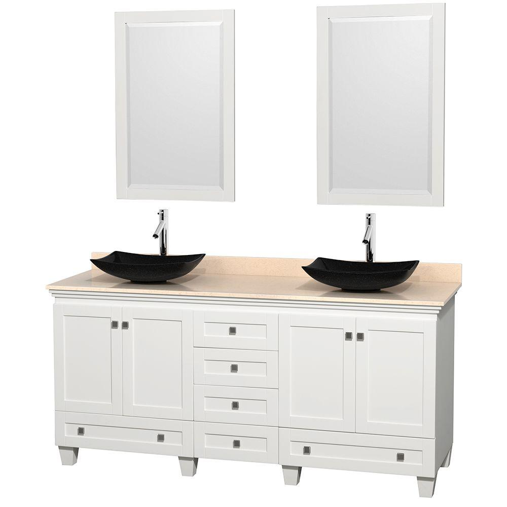 Wyndham Collection Acclaim 72 in. W Double Vanity in White with Marble Vanity Top in Ivory, Black Sinks and 2 Mirrors