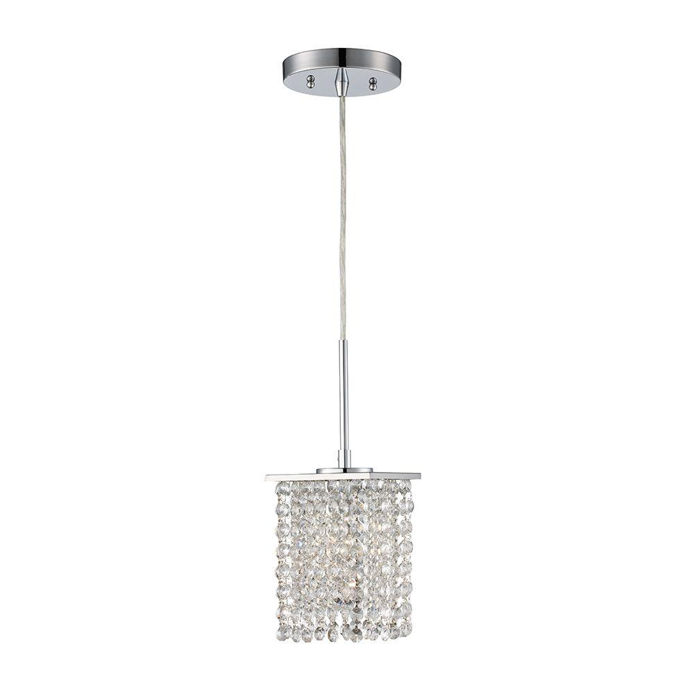Monteaux Lighting 1 Light Chrome And Crystal Pendant 107