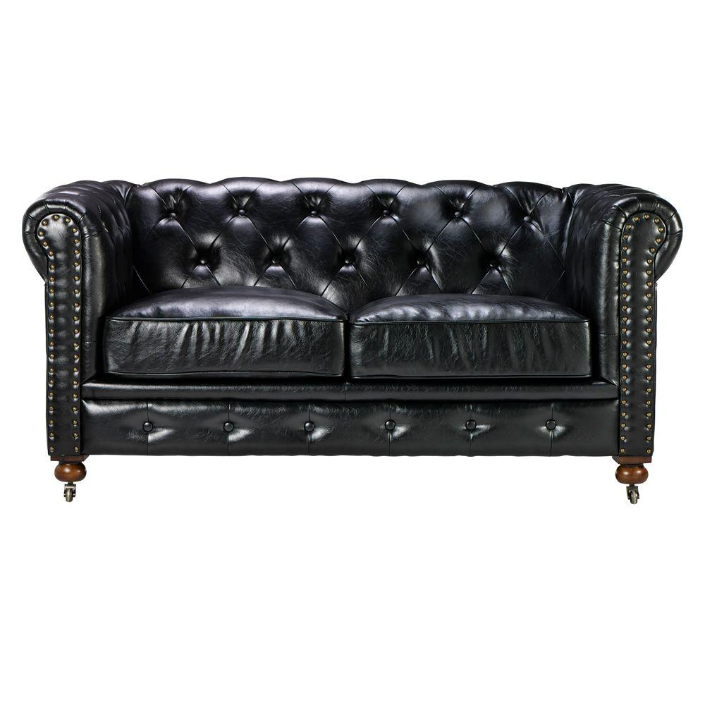 Home Decorators Collection Gordon Black Leather Loveseat