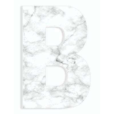 """12 in. x 18 in. """"Modern White and Grey Marble Patterned Initial B"""" by Artist Daphne Polselli Wood Wall Art"""