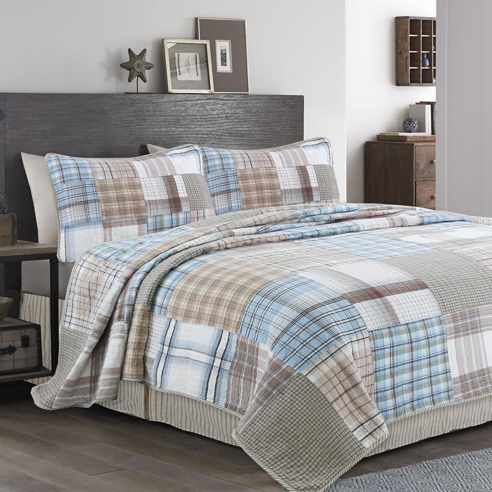 Baby Blues GQ Tartan Plaid Square Patchwork 3-Piece Blue Brown Beige White Cotton Queen Quilt Bedding Set