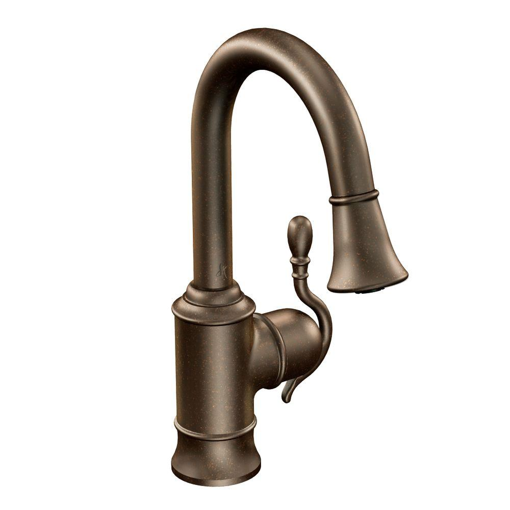 MOEN Woodmere Single-Handle Bar Faucet Featuring Reflex in Oil Rubbed Bronze with Pull-Down Sprayer