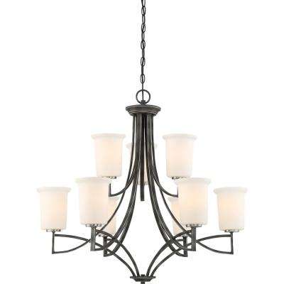 9-Light Iron Black Chandelier