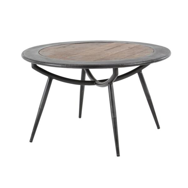 30 in. x 17 in., Medium Gray and Brown Wood and Iron Round Coffee Table