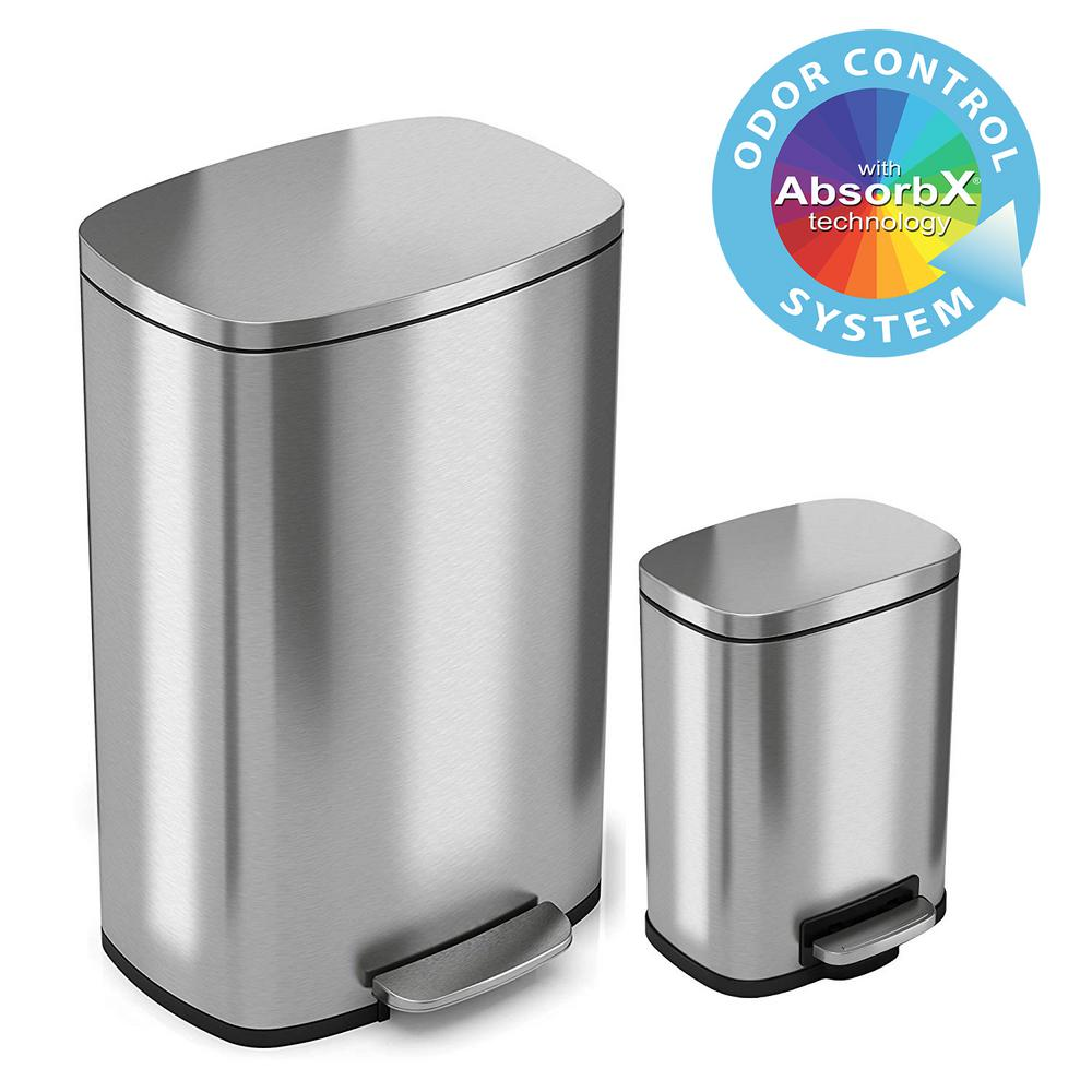 iTouchless SoftStep 13 Gal. and 1.32 Gal. Stainless Steel Step Trash Can Combo