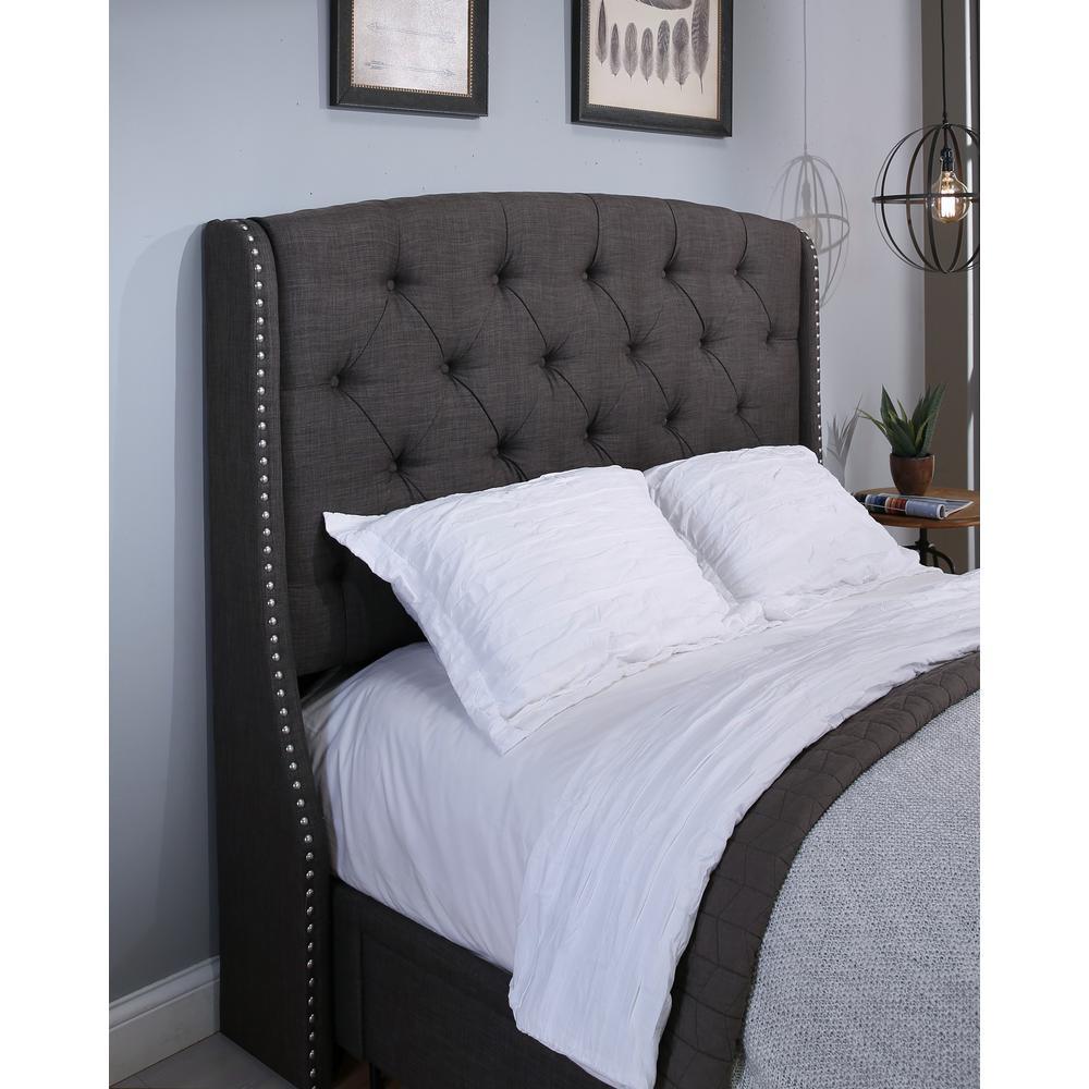 Peyton Upholstered Headboard Grey Ek Ck 12352 The Home