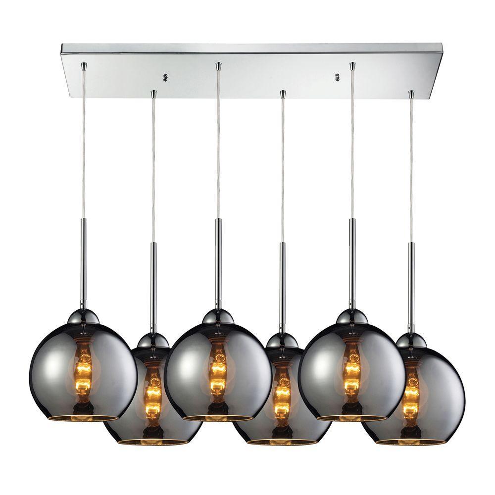 Cassandra 6 light polished chrome ceiling mount pendant