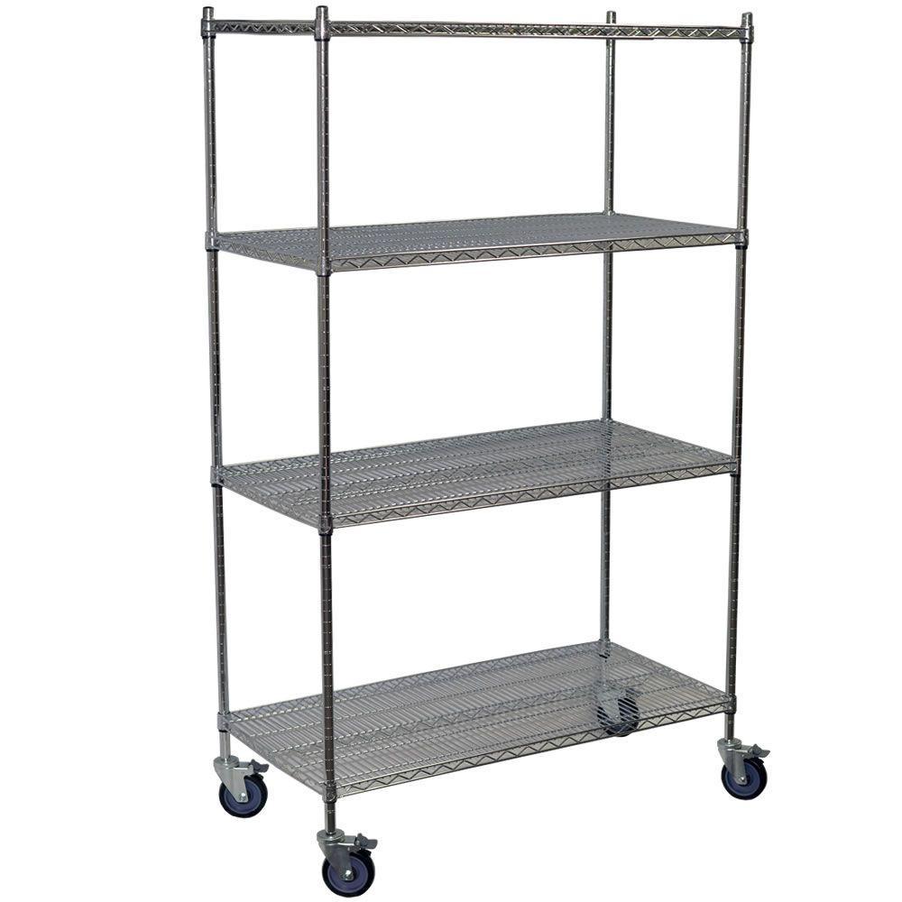 69 in. H x 60 in. W x 24 in. D 4-Shelf Steel Wire Shelving Unit in Chrome