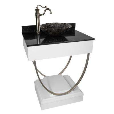 Ascetic 31.125 in. W x 21.65 in. D Bath Vanity in White with Granite Vanity Top in Black with Black Nickel Basin