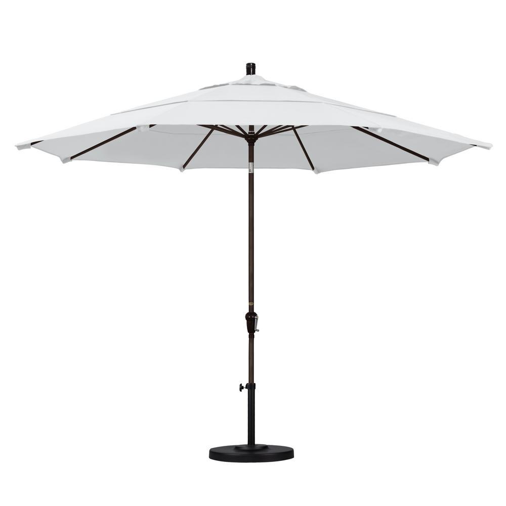 11 ft. Bronze Aluminum Pole Market Aluminum Ribs Auto Tilt Crank Lift Outdoor Patio Umbrella in Natural Sunbrella