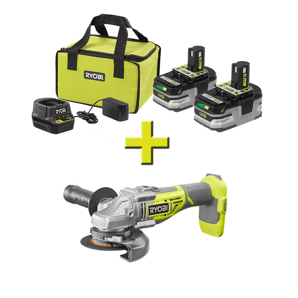 RYOBI 18-Volt ONE+ Cut-Off Tool/AngleGrinder with ONE+ LITHIUM+ HP 3.0 Ah Battery (2-Pack) Starter Kit with Charger and Bag