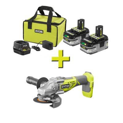 18-Volt ONE+ Brushless 4-1/2 in. Angle Grinder w/Free ONE+ LITHIUM+ HP 3 Ah Battery 2-Pack Starter Kit w/ Charger & Bag