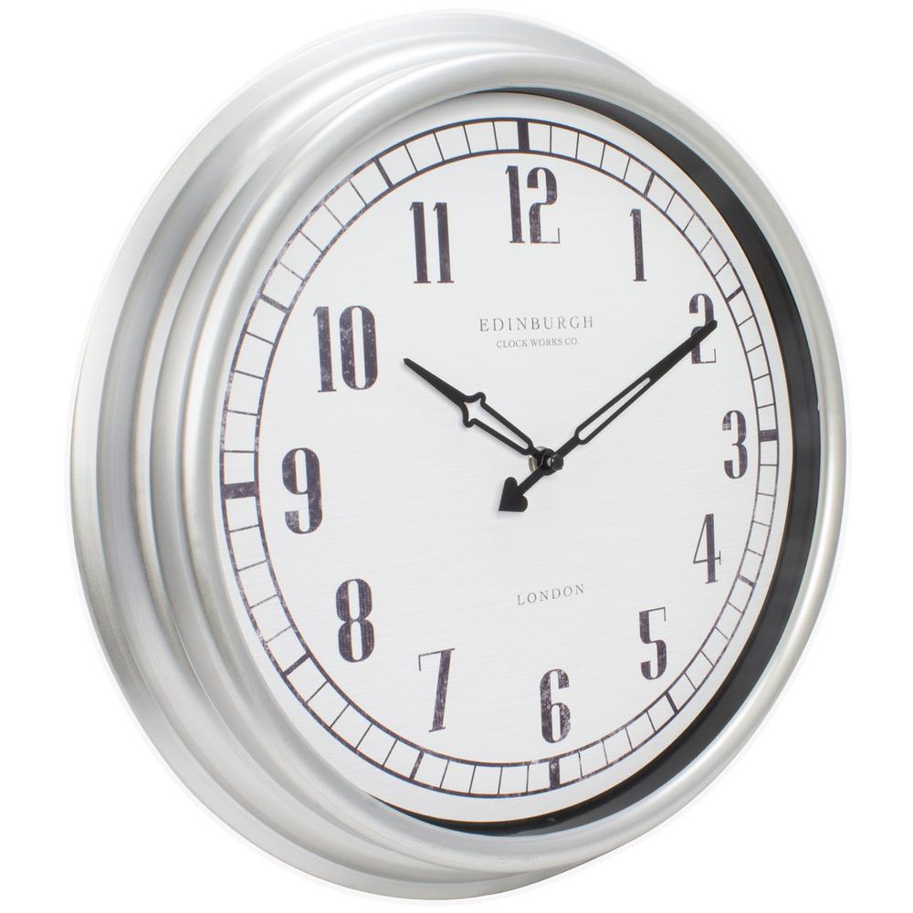 Wall Clocks Indoor Outdoor Durable Silver Quartz Lightweight Glass Lens 16 in.