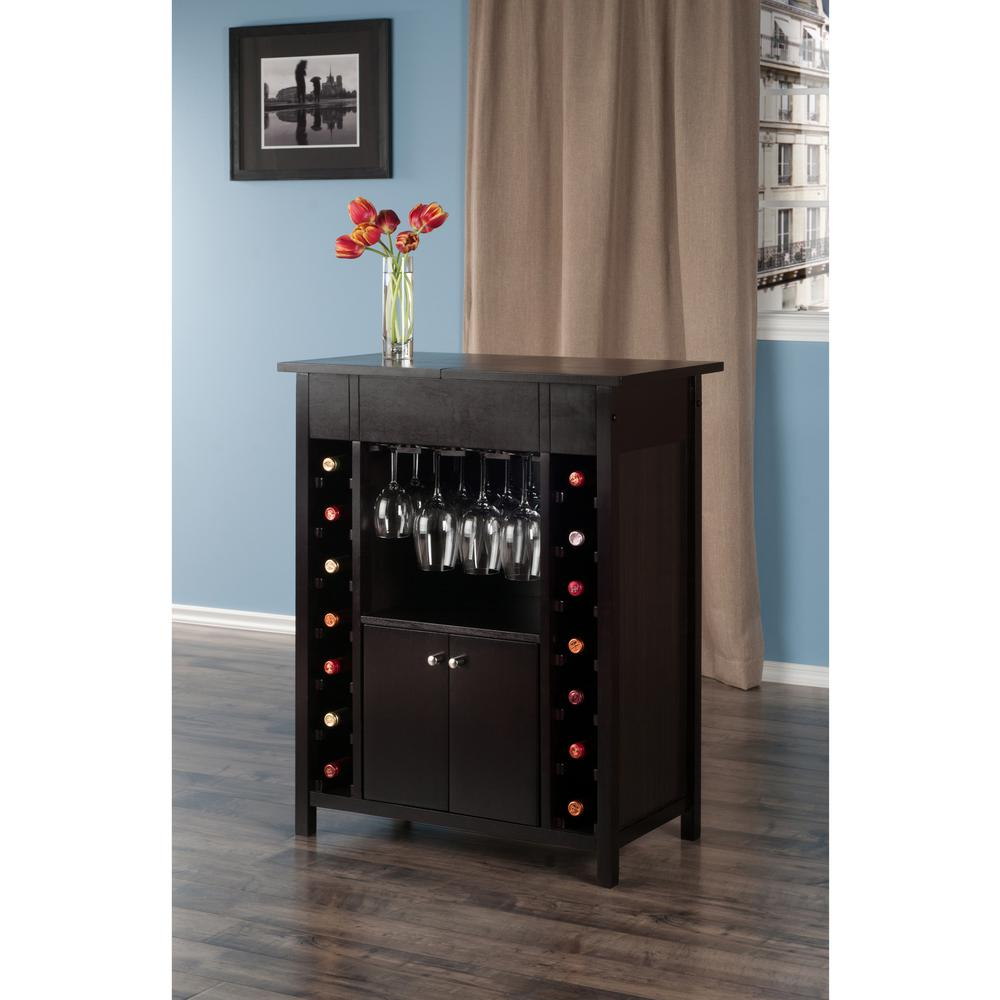 Winsome Wood Yukon 14-Bottle Wine Cabinet In Espresso