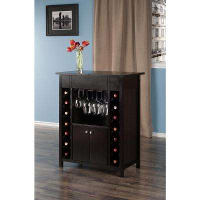 Yukon 14-Bottle Wine Cabinet in Espresso Finish