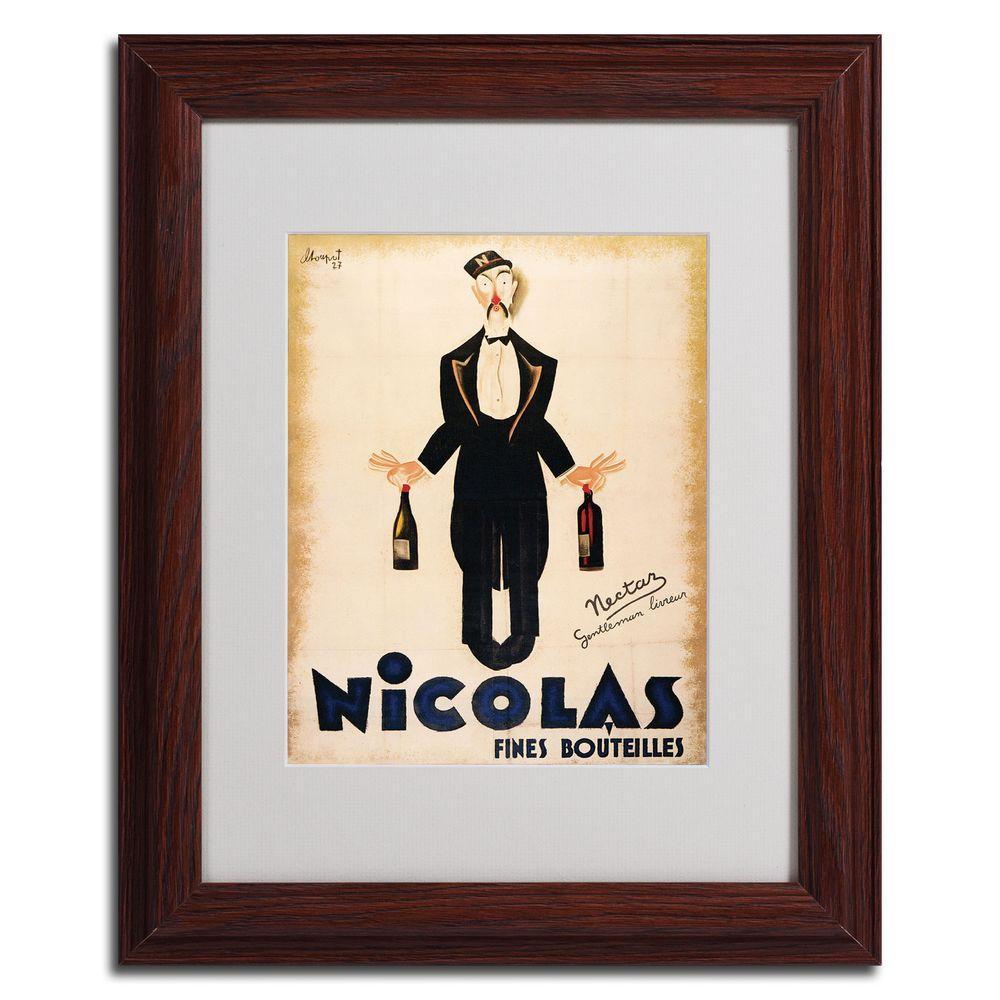 11 in. x 14 in. Nicolas Fines Bouteilles Dark Wooden Framed