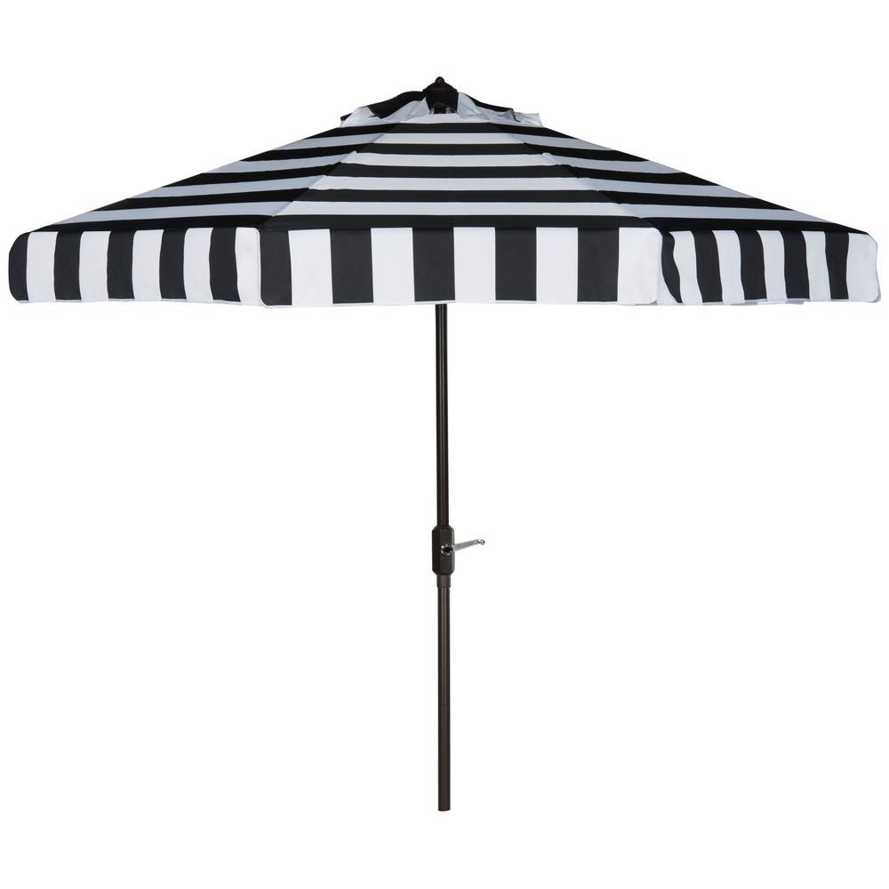 Elsa 9 ft. Aluminum Market Auto Tilt Patio Umbrella in Black/White