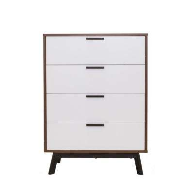 Milan 2-Tone 4-Drawer Chest in Vintage Umber with White