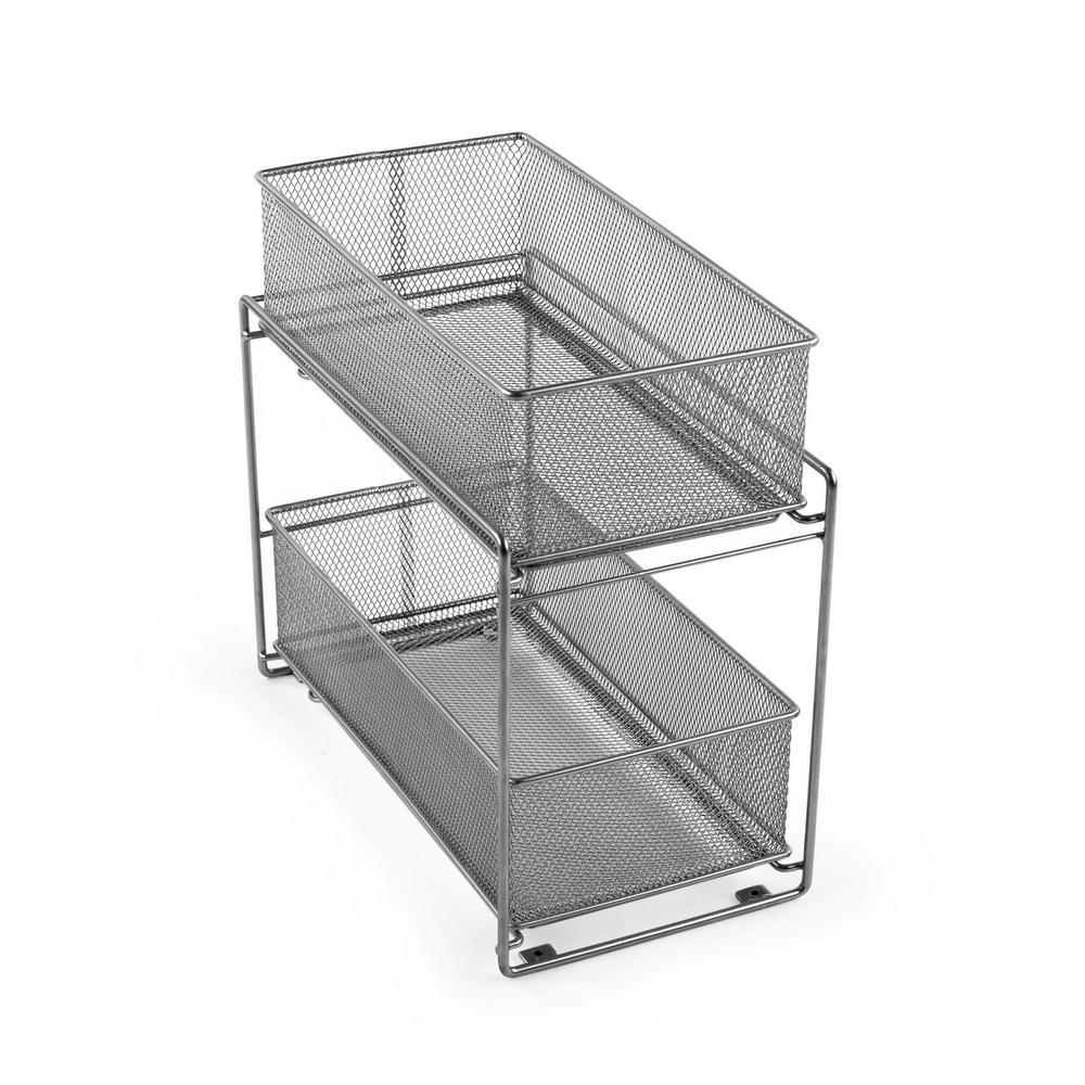 Design Ideas Meshworks Silver Metal Cabinet Basket Organizer 351289 The Home Depot