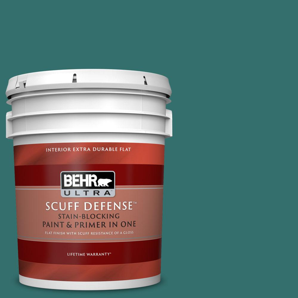 Behr Ultra 5 Gal 500d 7 Caribbean Green Extra Durable Flat Interior Paint And Primer In One 172305 The Home Depot