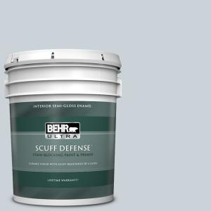 5 gal. #N480-1 Light Drizzle Extra Durable Semi-Gloss Enamel Interior Paint and Primer in One
