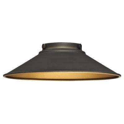 2-9/16 in. Oil Rubbed Bronze and Metallic Bronze Interior Shade with 2-1/4 in. Fitter and 9 in. W