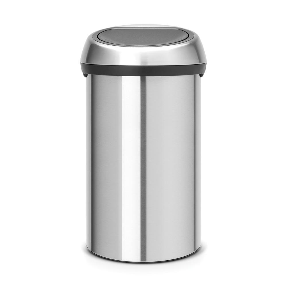 16 Gal. Matt Steel Fingerprint Proof Touch Top Trash Can