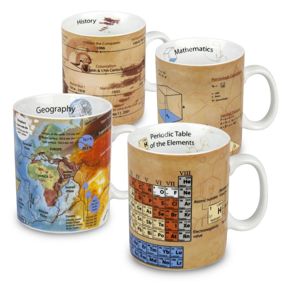 Konitz 4-Piece Assorted Mugs of Knowledge Mathematics, Chemistry, Geography, History Porcelain Mug Set