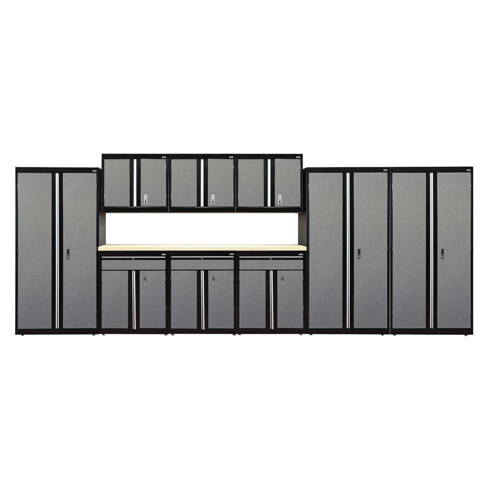 72 in. H x 18 in. D x 219 in. W Modular Garage Welded Cabinet Set in Black/Multi-Granite (10-Piece)