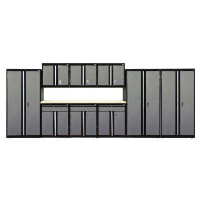 72 in. H x 18 in. D x 219 in. W Modular Garage Welded Storage System in Black/Multi-Granite (10-Piece)