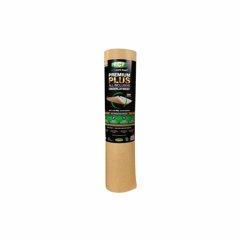 Eco Cork Foam 75 Sq Ft 3 Ft X 25 Ft X 0 126 In Laminate And